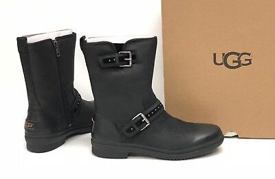 Ugg Australia Jenise Black Stud Boots 1018997 Waterproof WP Buckle Deco Women's