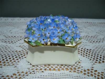 Crown Staffordshire England 'forget Me Not' Vintage Trinket Box - Gc