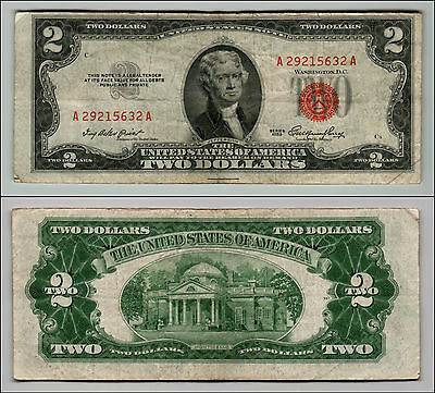 1953 $2 Dollar Bill Old Us Note Legal Tender Paper Money Currency Red Seal Z247