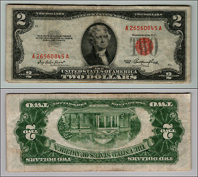 1953 $2 Dollar Bill Old Us Note Legal Tender Paper Money Currency Red Seal Z590