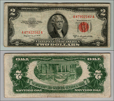 1953B $2 Dollar Bill  Us Note Legal Tender Paper Money Currency Red Seal P762