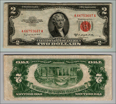 1953B $2 Dollar Bill  Us Note Legal Tender Paper Money Currency Red Seal P760