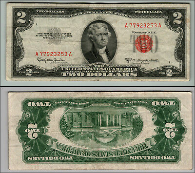 1953C $2 Dollar Bill Old Us Note Legal Tender Paper Money Currency Red Seal P573