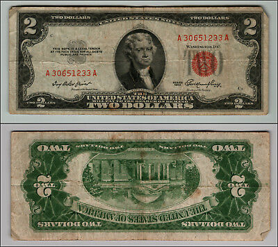 1953 $2 DOLLAR BILL OLD US NOTE LEGAL TENDER PAPER MONEY CURRENCY RED SEAL p851