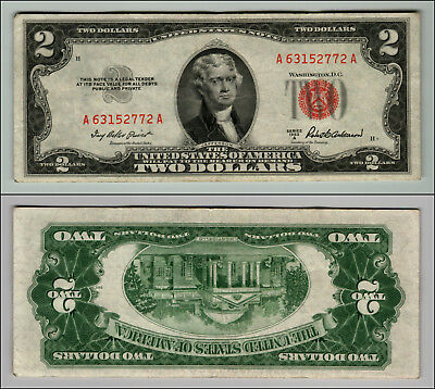 1953A $2 DOLLAR BILL OLD US NOTE LEGAL TENDER PAPER MONEY CURRENCY RED SEAL p634