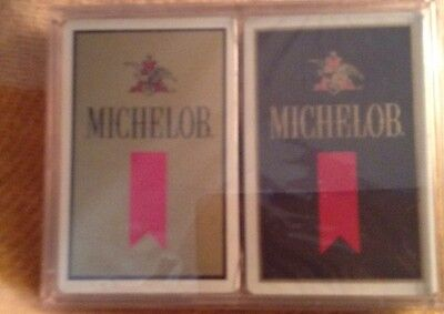 2 Decks Of MICHELOB PLAYING CARDS New & Sealed 1 Gold 1 Black Anheuser-Busch