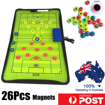 1 /2x Magnetic Football Soccer Coach Coaching Aid Erase Clipboard Tactical Board