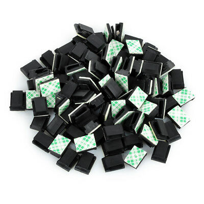 100Pcs Car Wire Tie Rectangle Cable Holder Mount Clip Clamp Self-adhesive