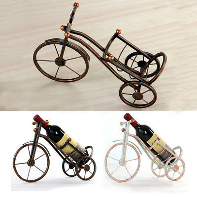 Vintage Tricycle Bronze Wine Bottle Holder Red Wine Rack Stand Support Bracket