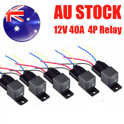 5X 12V Volt DC 40A AMP Relay & Socket SPST 4Pin 4 Wire For Car Truck AU Local