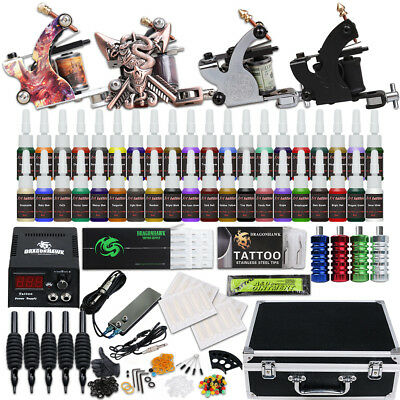 Beginner Tattoo Kit 4 Machine Gun 40 color Ink Power supply needle Grip Tip W