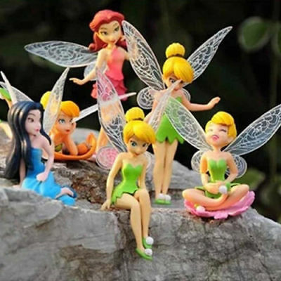 6pcs Tinker Bell Fairies Figures Cake Topper Secret Wing Girl Kids Party Toy
