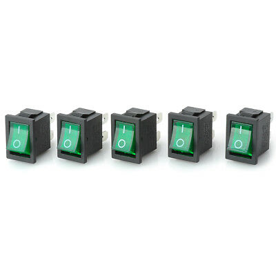5Pcs 10A 4 Pin 2 Position I/O Green LED Light On Off Button Rocker Switch