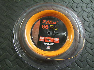 BADMINTON STRING REEL Ashaway Zymax 66 Fire 200 Metre Roll Orange Made in USA