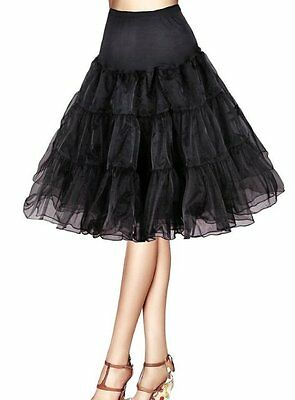 Plus Size Black Rockabilly Swing Layered Petticoat Skirt 65cm, AU Size 16 - 20