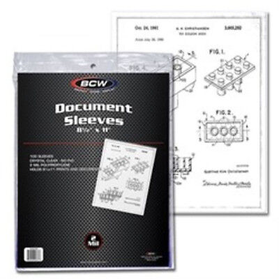 (100) BCW 8.5x11 PHOTO or PRINT DOCUMENT SOFT POLY CLEAR STORAGE SLEEVES