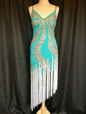 Je Bling Sky Blue/White Fringe Ballroom Competition Latin Rhythm Costume US 8-1