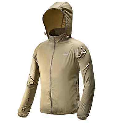 Outdoor Sports Breathable Polyester Ultra-Slim Men's Hoodie Jacket - Khaki (L)
