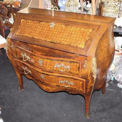 Fine Bombé Antique Marquetry Inlaid Desk