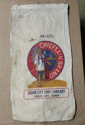Vintage Chieftain Brand Sioux City Seed Company Seed Sack Iowa