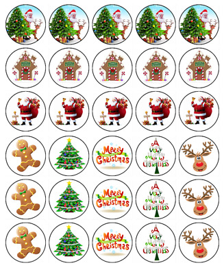 """30 CHRISTMAS MIX 1.5"""" (35mm) CUPCAKE EDIBLE WAFER PAPER CAKE TOPPERS #1"""