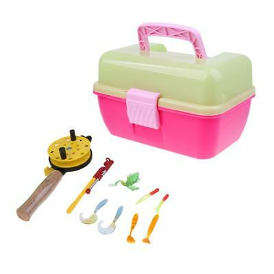 Portable Ice Fishing Rod Reel Winter Gear Lures & Box for Children Kids Pink