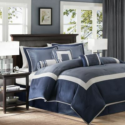 Posh pc Navy Blue & Silver  Geometric Comforter Set AND Decorative Pillows