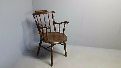 Victorian Antique Oak Round Seat Carver Armchair/Windsor Chair-Great Condition