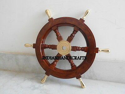 "Rosewood ship wheel 18"" Brass ring <Nautical Marine_Handcrafted ~Vintage Item"