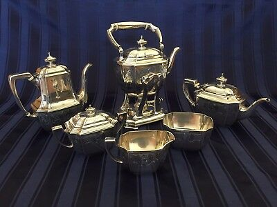 Tiffany Sterling Silver Hampton Engraved 6 Piece Tea and Coffee Set