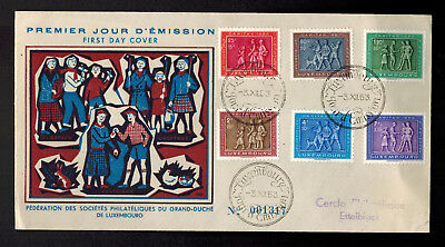 1954 Luxembourg First Day Cover FDC # B174-B179 National Welfare Fund