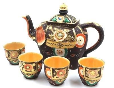 Japanese Moriage Gilded Satsuma Hand Painted Elephant Tea pot with 4 cup set