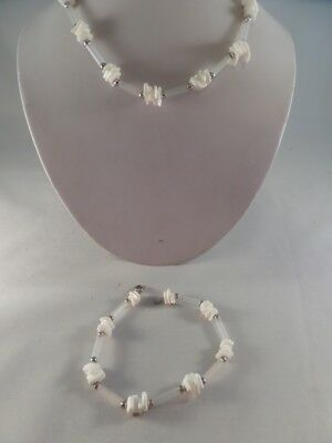 Vintage Silvertone Plastic and Shell Necklace and Ankle Bracelet M1