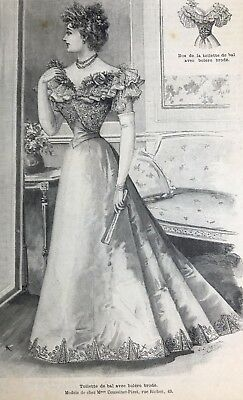 French MODE ILLUSTREE SEWING PATTERN Dec 20,1896 FOUR BALL & RECEPTION GOWNS
