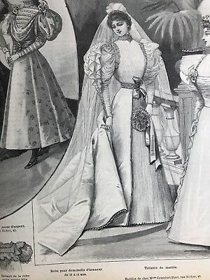 French MODE ILLUSTREE SEWING PATTERN Aug 2,1896  BRIDE DRESS, BALL GOWN