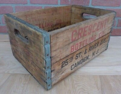 Old CRESCENT BOTTLING Co CAMDEN NJ Crate Box Phone WO 4-2268 TREEN BOX Co PHILA