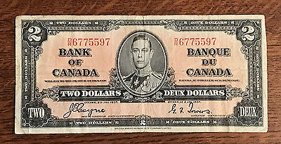 Bank of Canada early 1937 $2 Two Dollars Coyne-Towers George VI Good D/R prefix