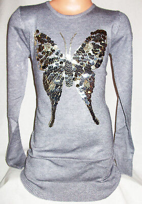 Girls Grey Sparkly Sequin Butterfly Logo Party Soft Knit Jumper Tunic Dress Top