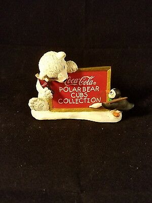 """Coca-Cola Polar Bear Cubs Collection Sign 1996 numbered 3.5"""" Vintage FREE SHIP"""