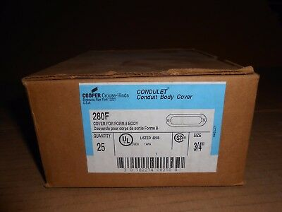 """Box Of 25 Nib Crouse Hinds 280F 3/4"""" Conduit Cover For Form 8 Body"""