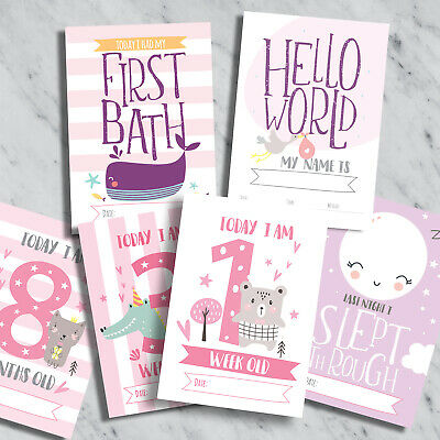 Baby Milestone Cards ~ 1st Year Memorable Moments Girl Age