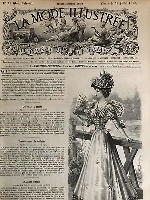 French MODE ILLUSTREE SEWING PATTERN July 19,1896 CORSET , MATINEE , LINGERIE