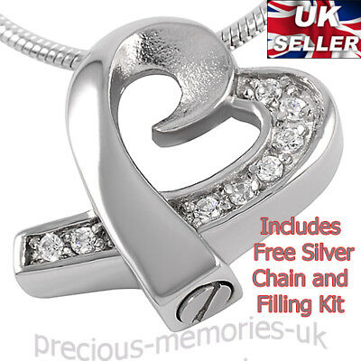Silver Cremation Ashes Necklace - Memorial Jewellery - Keepsake Urn Pendant