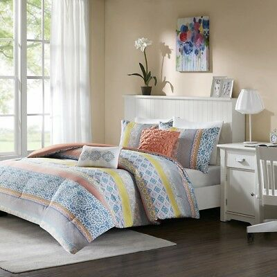 Posh Coral Yellow & Blue Geometric Comforter Set AND Decorative Pillows
