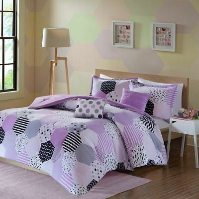 Posh Girls Purple Grey & White Geo Shapes Comforter Set AND Decorative Pillows