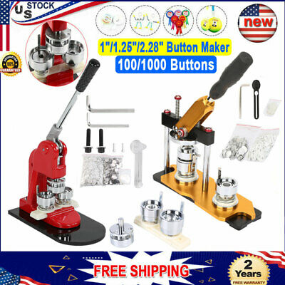 "1""/1.25""/2.28"" Button Maker Machine+1000 Buttons Circle Badge Punch Press Pin US"