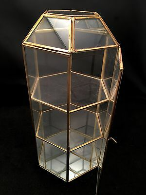 VTG Brass Glass Mirror * LARGE DISPLAY CASE TOWER * Curio Cabinet Shelf Box