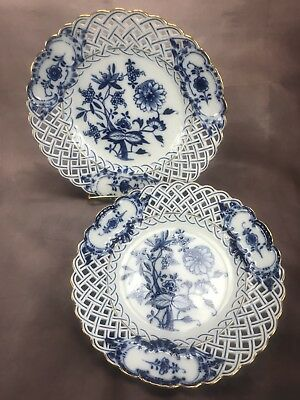(2) EARLY! 19th Century Meissen Lunch Plate Reticulated Blue Onion w/ Gold Trim