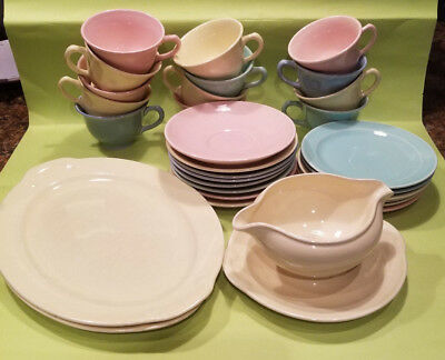 Lu-Ray Pastels Dishes Vintage 30 pc Taylor Smith Teacup, Gravy Boat, Platter LOT