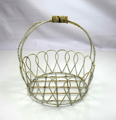 Vtg Shabby Distressed White Painted Metal Wire Chic Basket Planter Pot Holder
